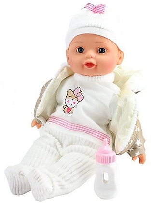 Puppe 32cm mit Winterkleidung + Flasche