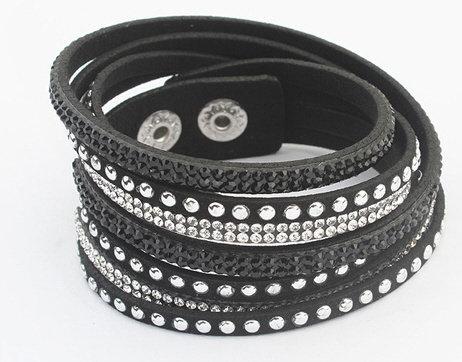 Schwarzes Armband mit Glitzer