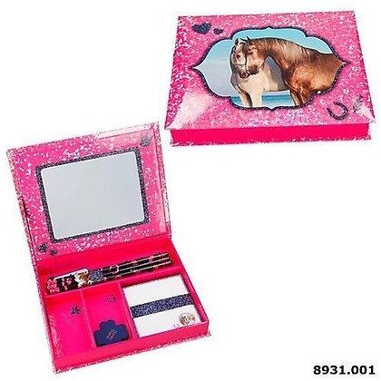 K..75) Reit Pferd Schreibwarenbox Pink