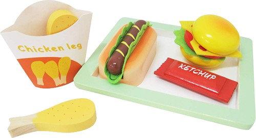 K..47) Fast Food Hot Dog Hambu. aus Holz