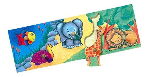 K..56) Holzpuzzle mit Greifknöpfen Zootiere
