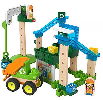 Mattel Fisher-Price Wonder makers Holzspielzeug 35 Teile Recycling Center