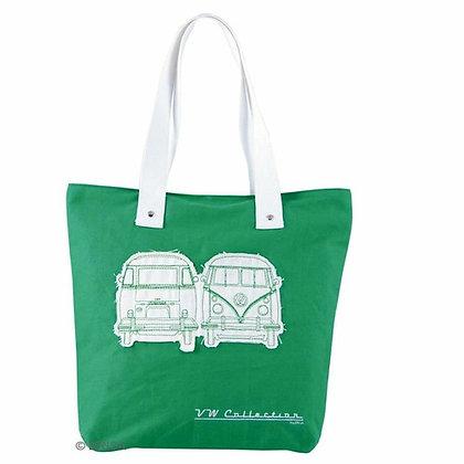 VW Bulli Shopper Tasche Canvas grün