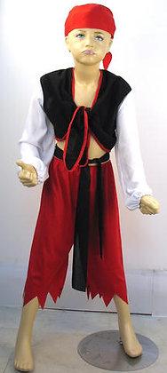 K..94) Piratenkostüm rot / schwarz