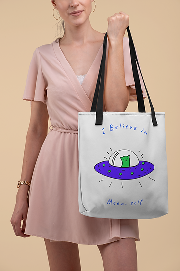 LARGE-Believe in Meow-self Tote Bag
