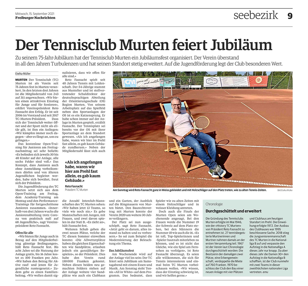 75 Jahre TC Murten