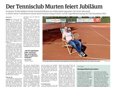Bericht in den Freiburger Nachrichten zum 75jährigen Jubiläum des TCM 👍🏻🎉