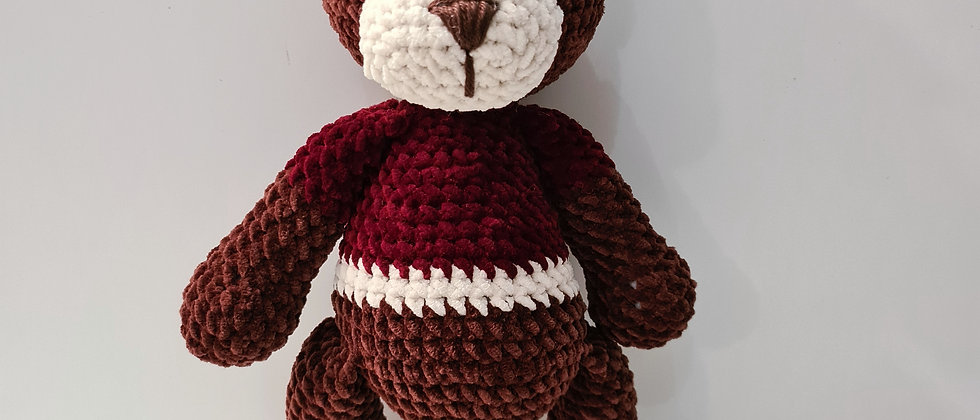 Brown bear stuffed animal with shirt for babies and toddlers standing front view