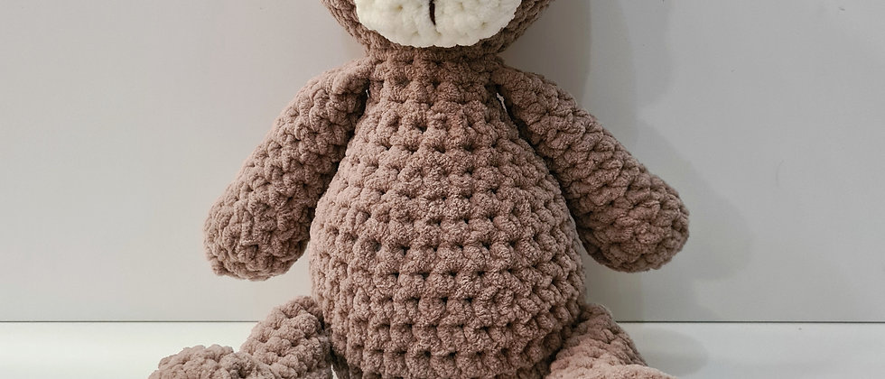 Beige bear stuffed animal for babies and toddlers front view