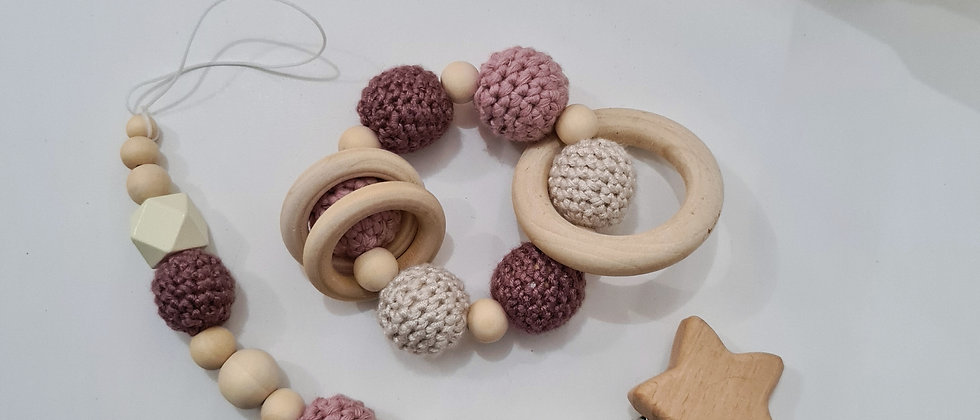 pink pacifier clip and wooden rattle set