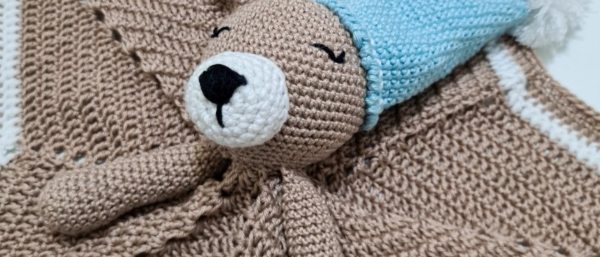 blue bear blanket plush close up
