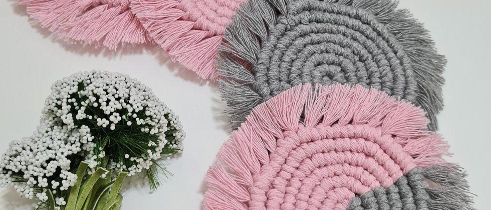 Pink and grey round macrame coaster set