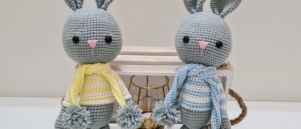Baby toy, grey bunnies with blue and yellow shirts stuffed animal