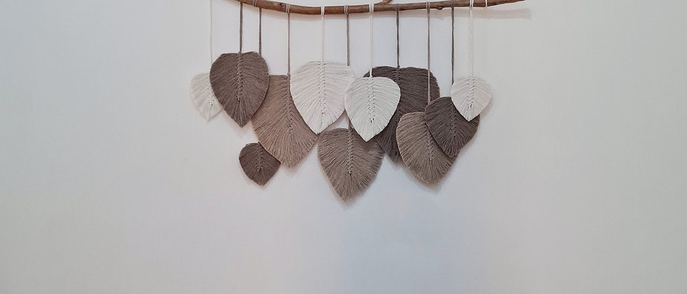 Large beige and white macrame leaves wall hanging