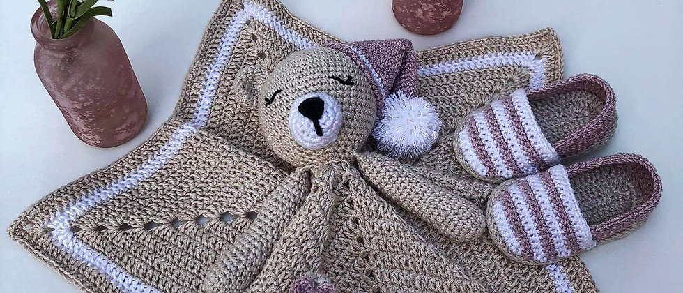 sleeping bear blanket, rattle and shoes set