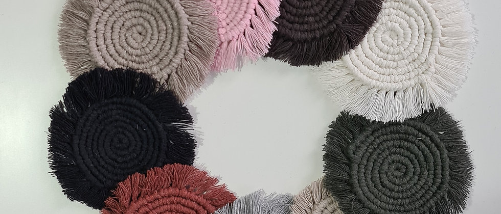 Round single colour macrame coasters