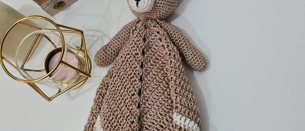 Beige personalised sleeping bear blanket for babies