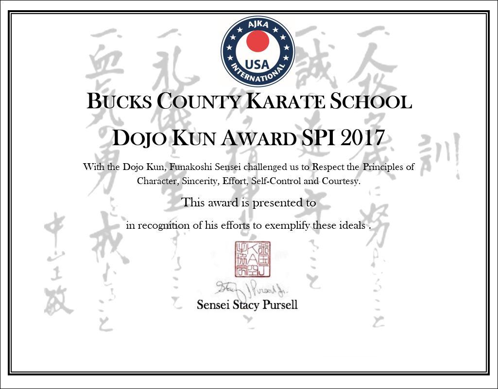 Dojo Kun Certificate