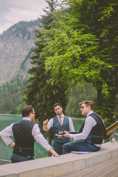 Grooms men french alps wedding venue morzine