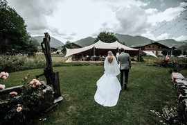 Bride and Groom at Wedding venue in Morzine