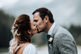 The first kiss - French Alps mountain wedding