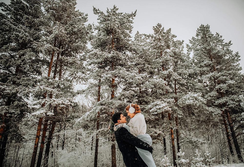 Wedding couple embrace in Morzine