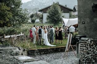 Outside festival wedding at venue in Morzine