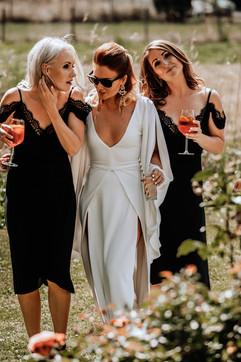 Bridesmaids at outdoor wedding in Morzine