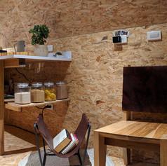 cocina y espacio de lectura