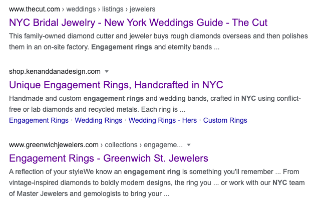 Engagement Rings SEO