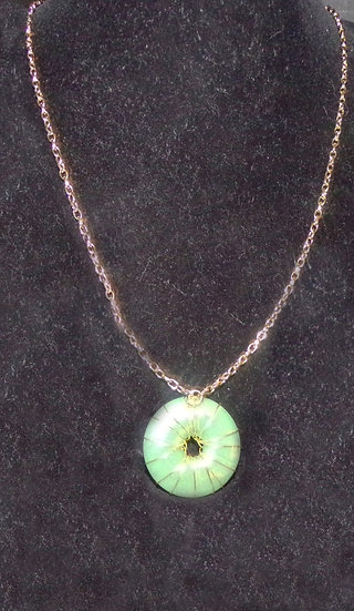 Wire Wrapped Green Disc Necklace