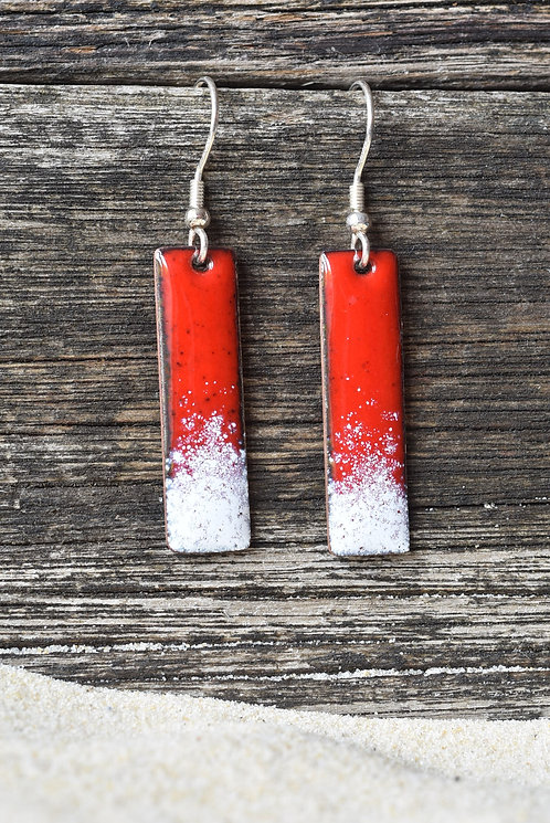 Red and white oblong earrings