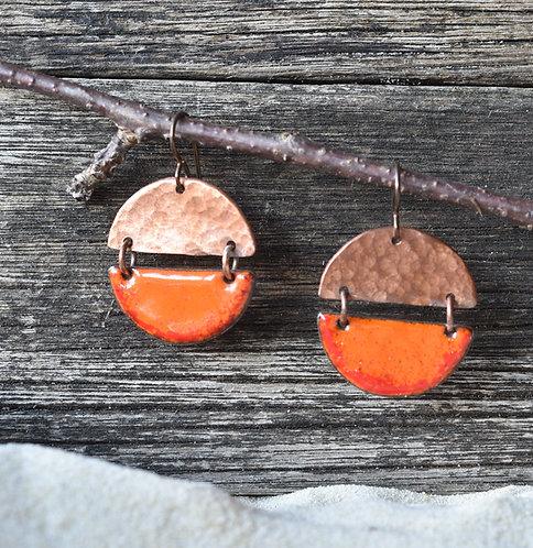 Linked semi-circle earrings - burnt orange