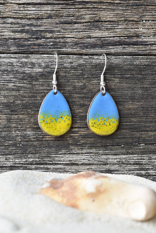 Blue and yellow egg earrings