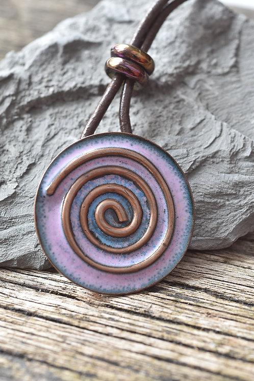 Purple copper spiral pendant