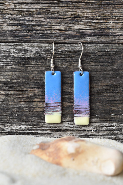 Wire wrap earrings - blue/lilac/yellow