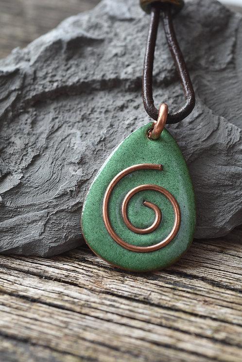 Green copper spiral pendant