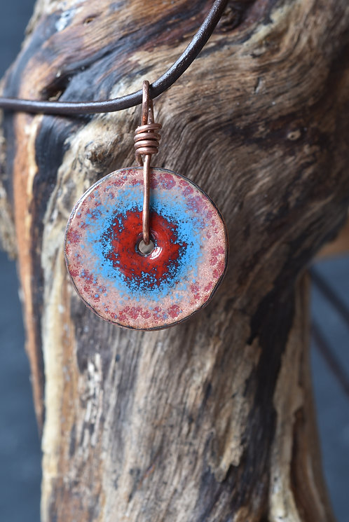 Copper disc pendant -  red and blue