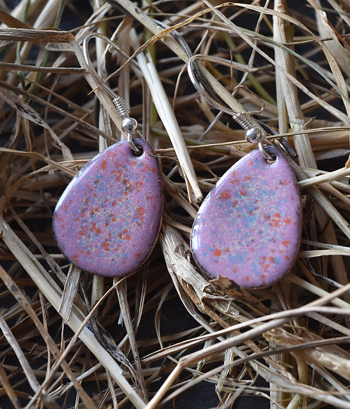 Pink speckled egg earrings