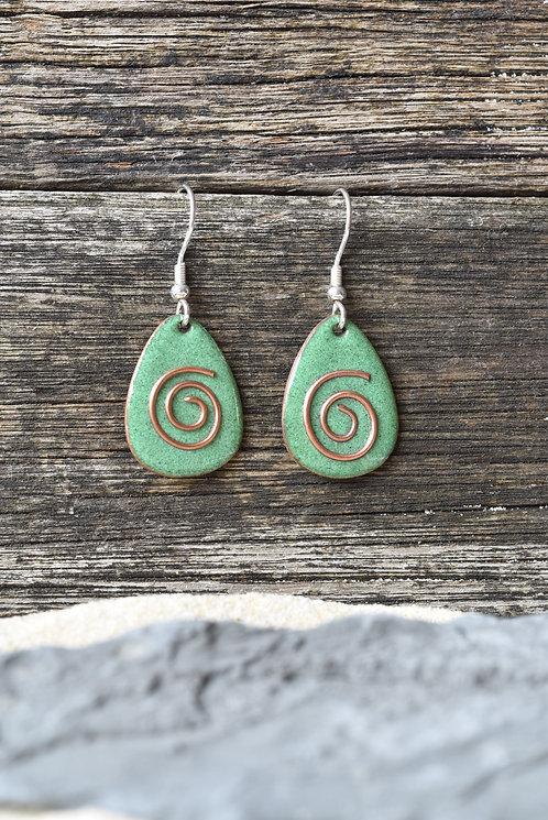 Green copper spiral earrings
