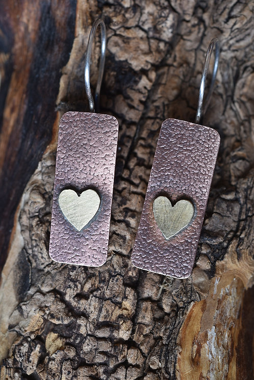 Copper and brass heart earrings