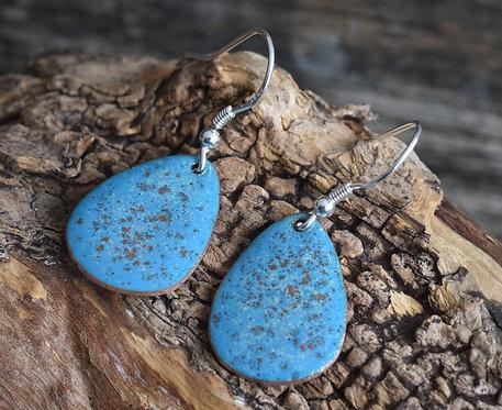 Teal blue speckled egg earrings