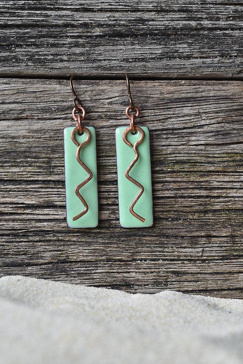 Green zigzag copper enamel earrings