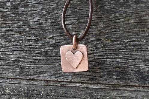Square copper heart pendant