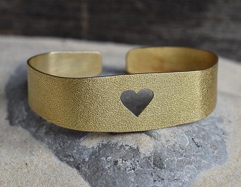 Wide heart brass bangle
