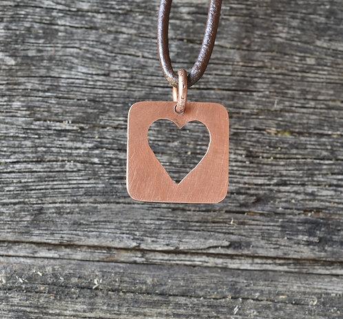 Cut out copper heart pendant