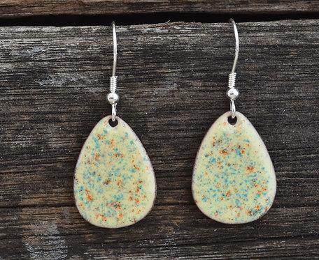 Primrose yellow speckled egg earrings