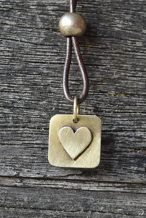 Square brass heart pendant