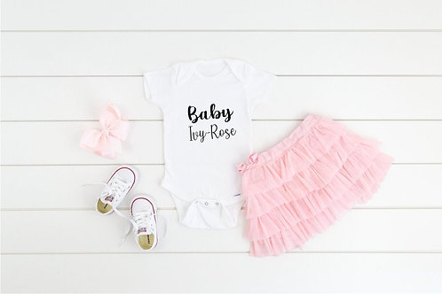 Pregnancy announcement Personalised name baby grow, body suit, onesie, short ves