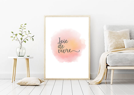 French Joie De Vivre Poster Watercolour Quote   Print Poster Wall-art Gift    A4